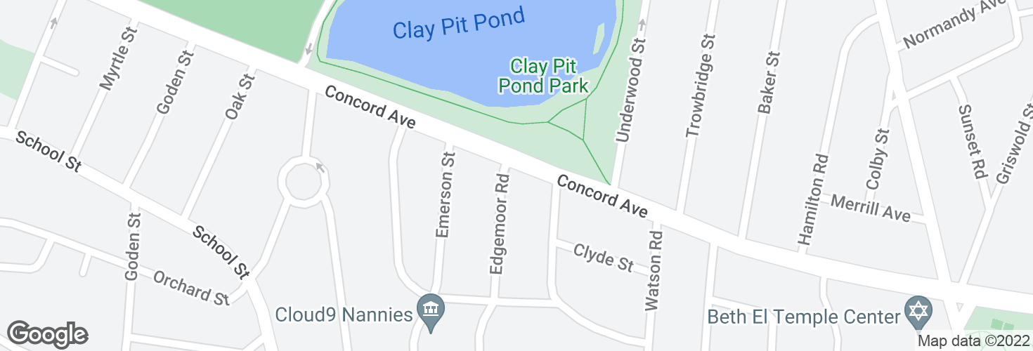 Map of Concord Ave @ Edgemoor Rd and surrounding area