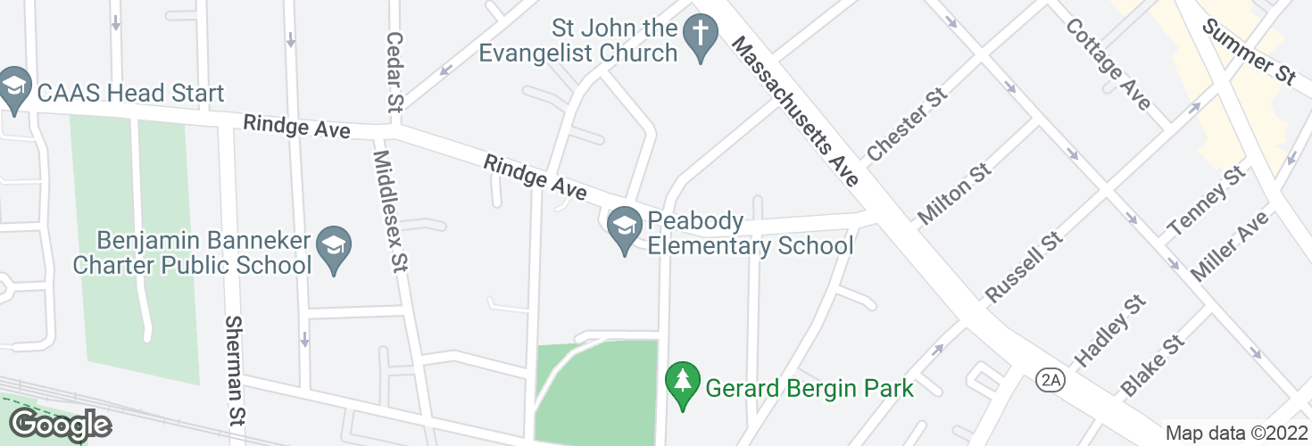 Map of Rindge Ave @ Haskell St and surrounding area