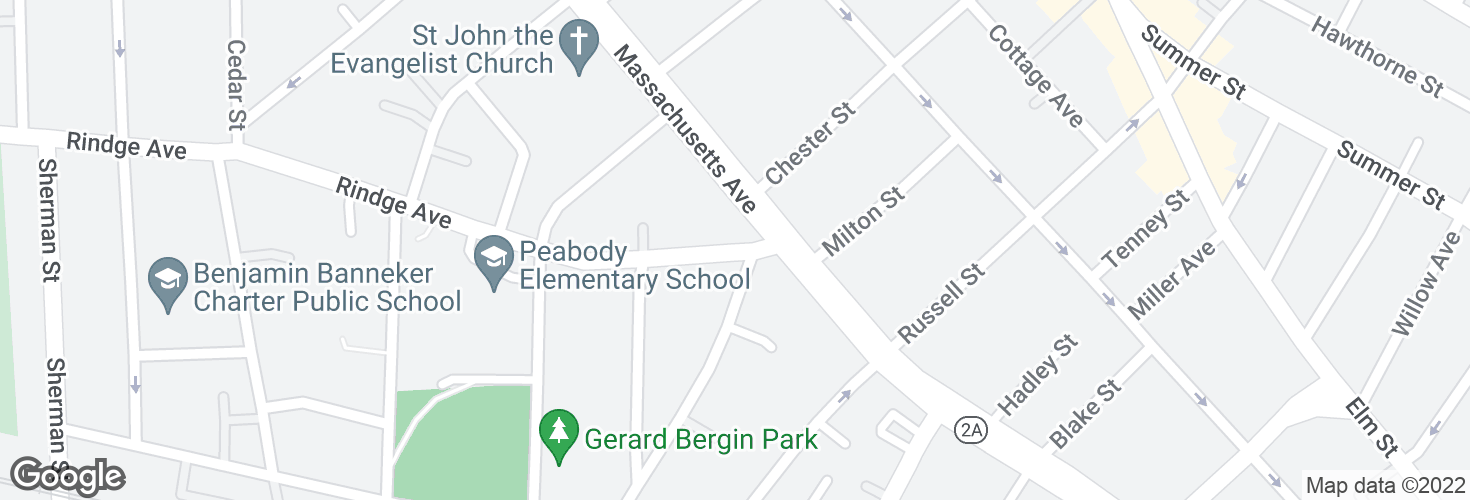 Map of Rindge Ave @ Massachusetts Ave and surrounding area