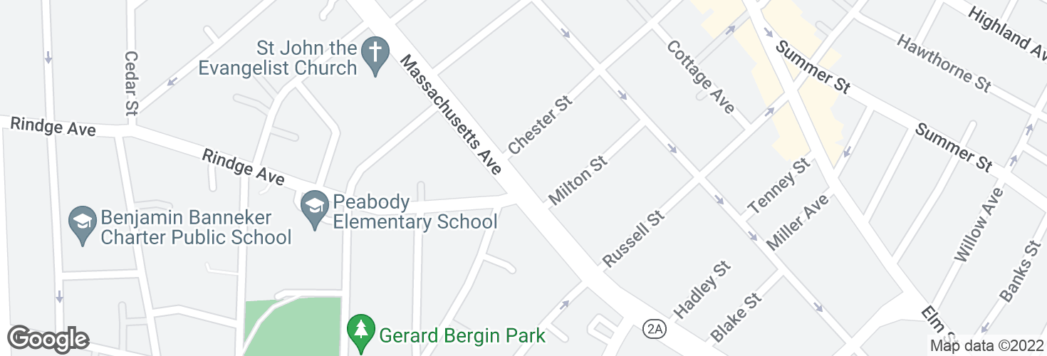 Map of Massachusetts Ave opp Rindge Ave and surrounding area