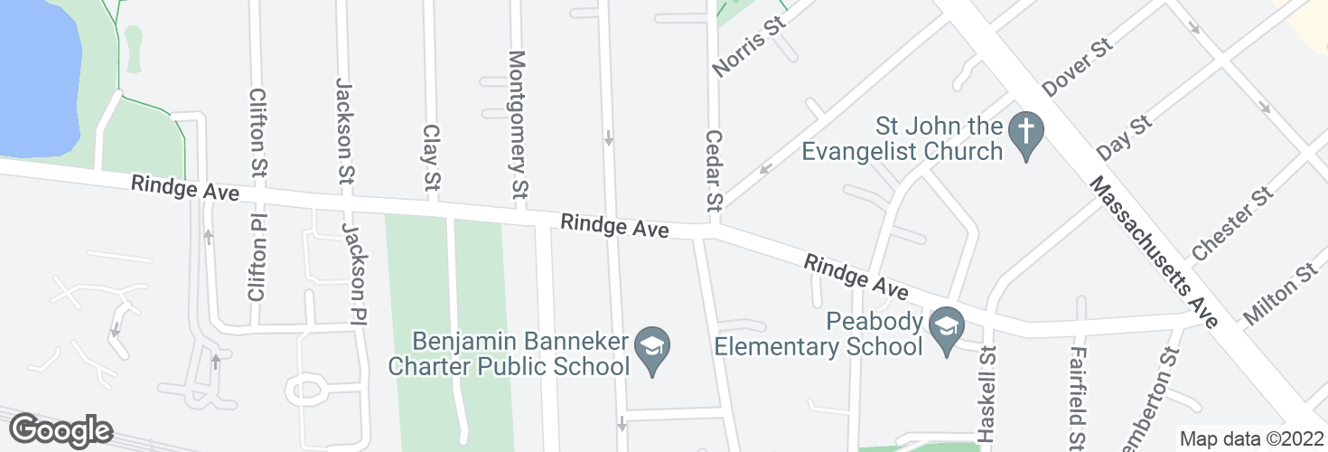 Map of Rindge Ave @ Reed St and surrounding area