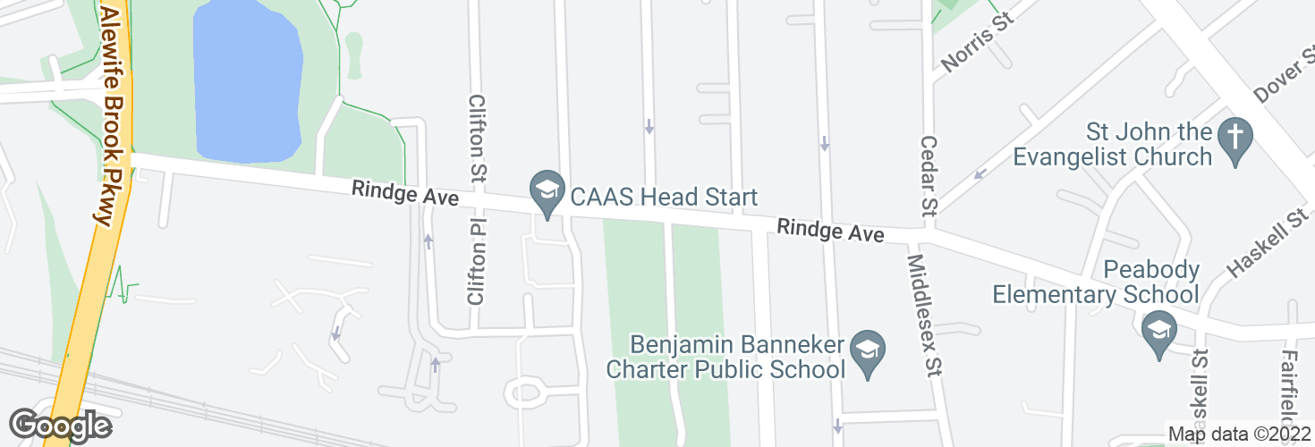 Map of Rindge Ave opp Clay St and surrounding area