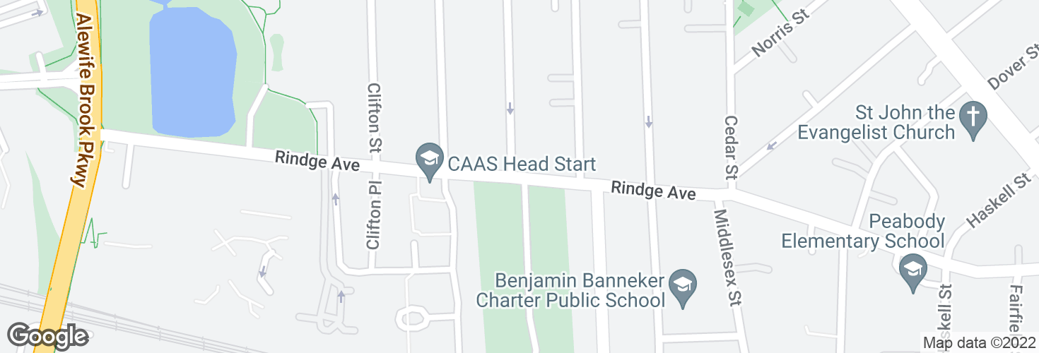Map of Rindge Ave @ Clay St and surrounding area