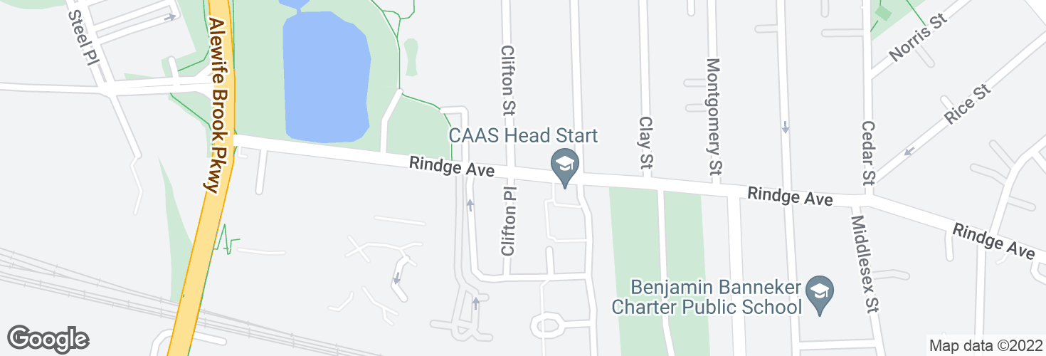 Map of Rindge Ave opp Clifton St and surrounding area