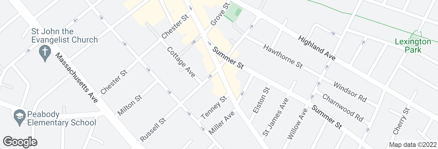 Map of Elm St @ Russell St and surrounding area