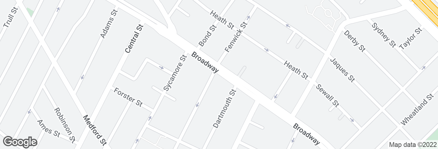 Map of Broadway @ Thurston St and surrounding area