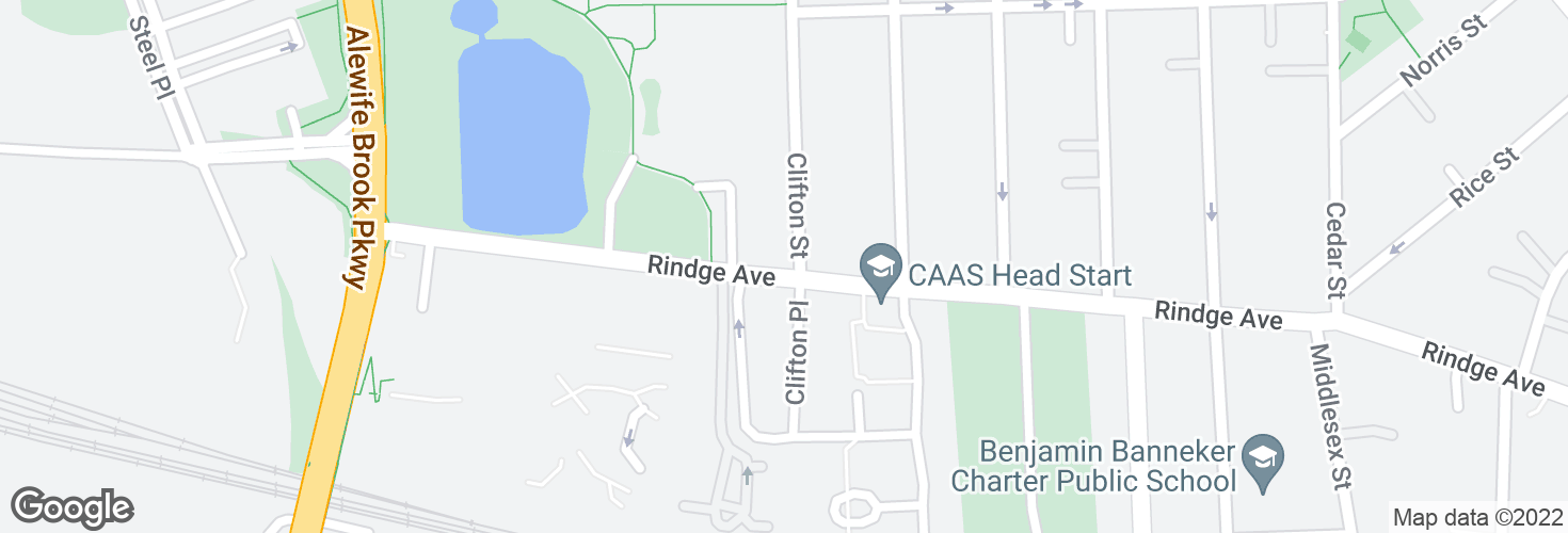 Map of Rindge Ave @ Clifton St and surrounding area