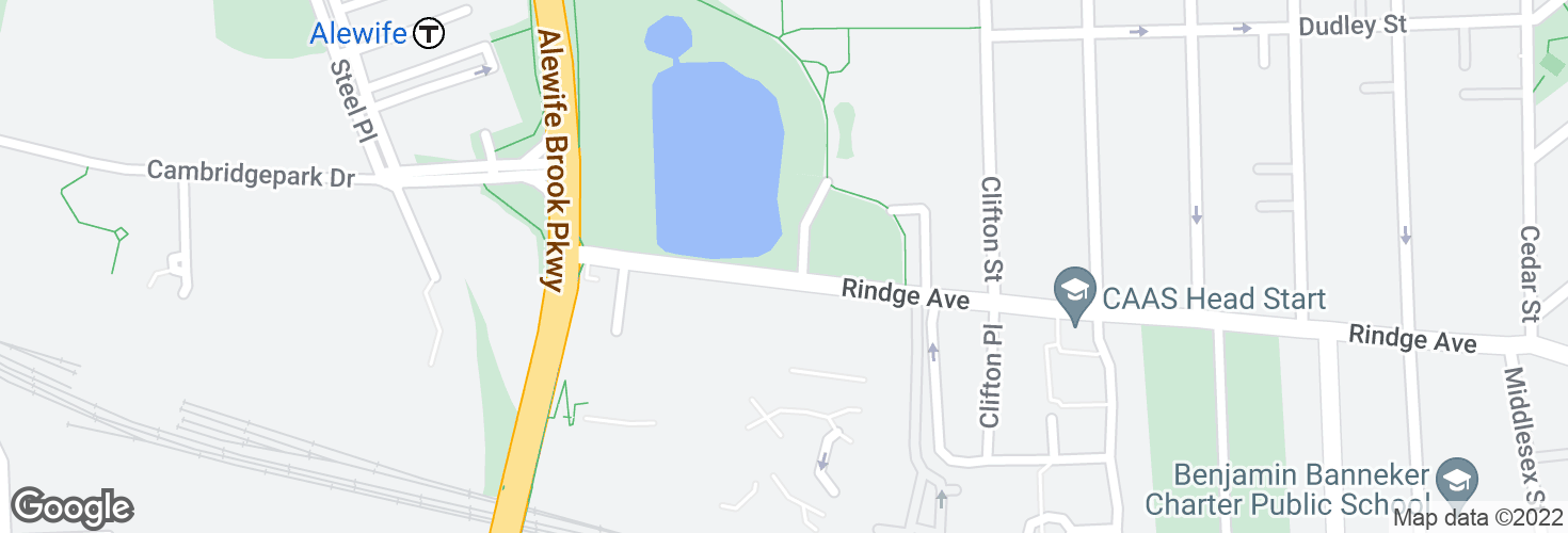 Map of Rindge Ave @ Russell Field and surrounding area