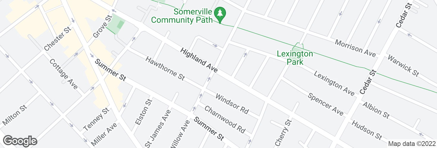 Map of Highland Ave @ Willow Ave and surrounding area