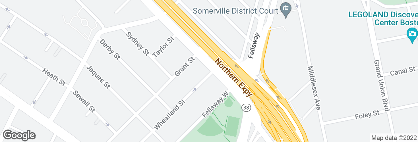 Map of Mystic Ave @ Wheatland St and surrounding area