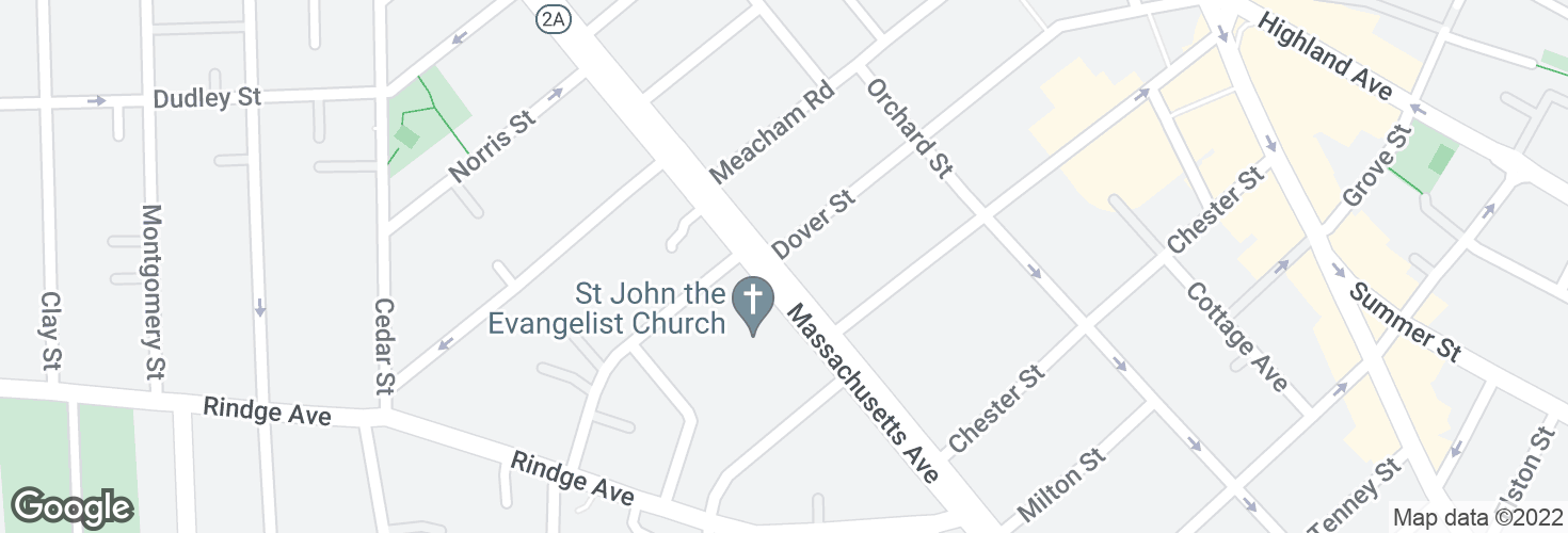 Map of Massachusetts Ave @ Dover St and surrounding area