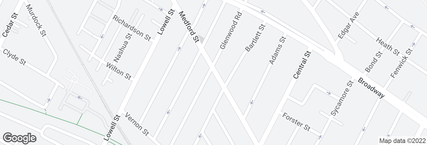 Map of Medford St @ Glenwood Rd and surrounding area