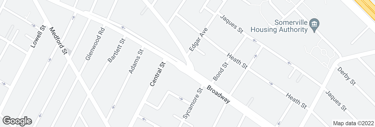 Map of Main St @ Broadway and surrounding area
