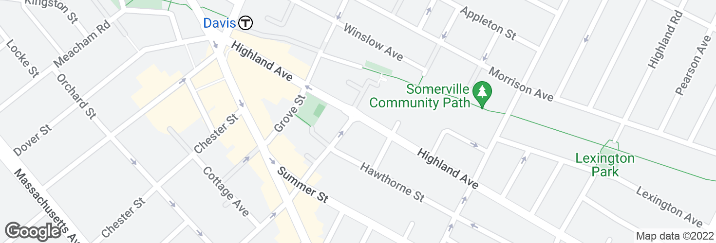 Map of Highland Ave @ Cutter Ave and surrounding area
