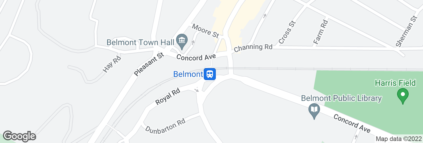 Map of Belmont and surrounding area