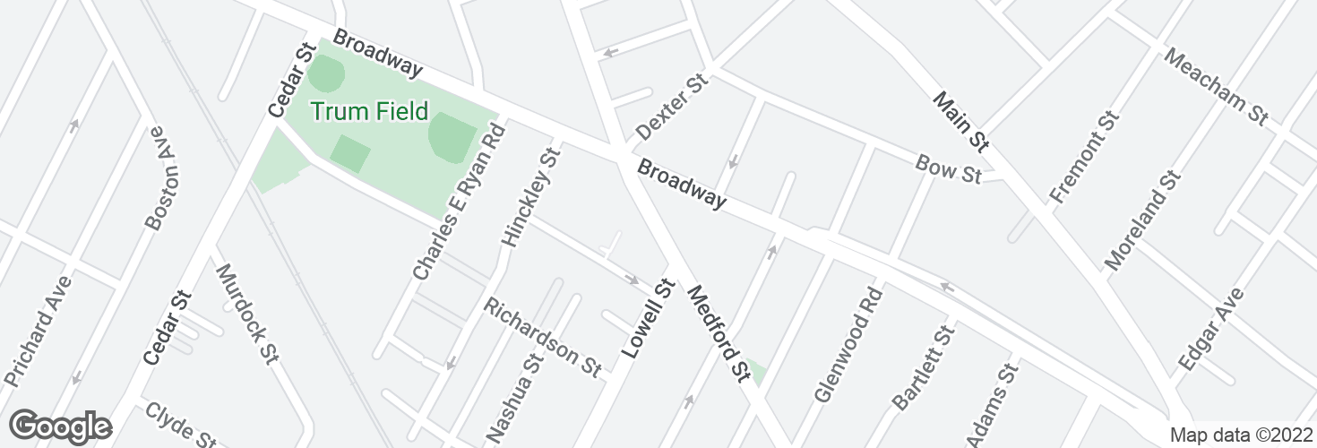 Map of Medford St @ Broadway - Magoun Sq and surrounding area