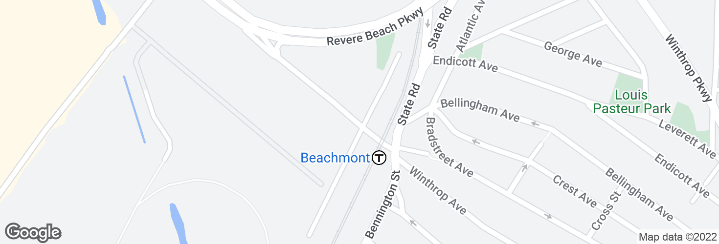 Map of Winthrop Ave @ Beachmont Station and surrounding area