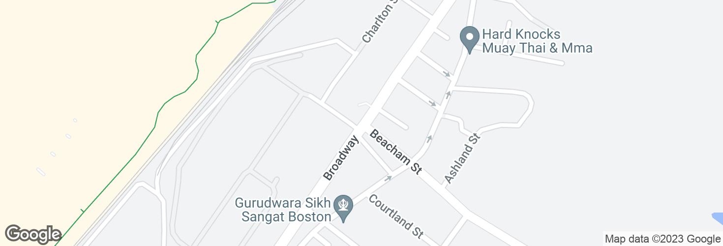 Map of Broadway opp Beacham St and surrounding area