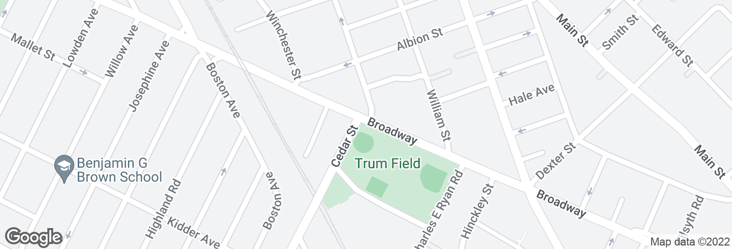 Map of Broadway @ Cedar St and surrounding area