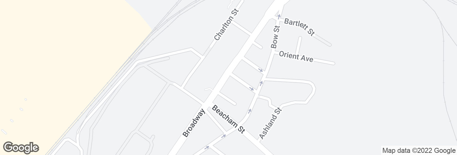 Map of Broadway @ Langdon St and surrounding area