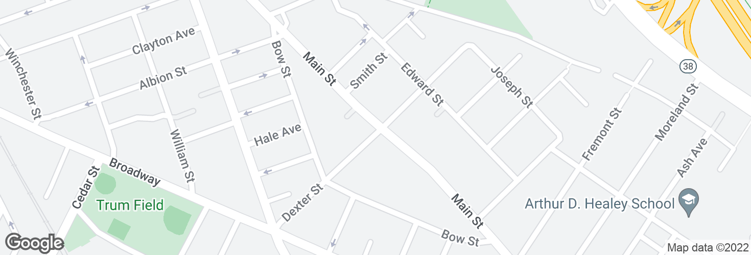 Map of Main St @ Dexter St and surrounding area