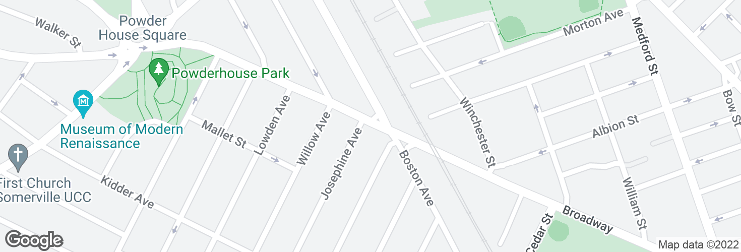 Map of Broadway @ Josephine Ave - Ball Sq and surrounding area