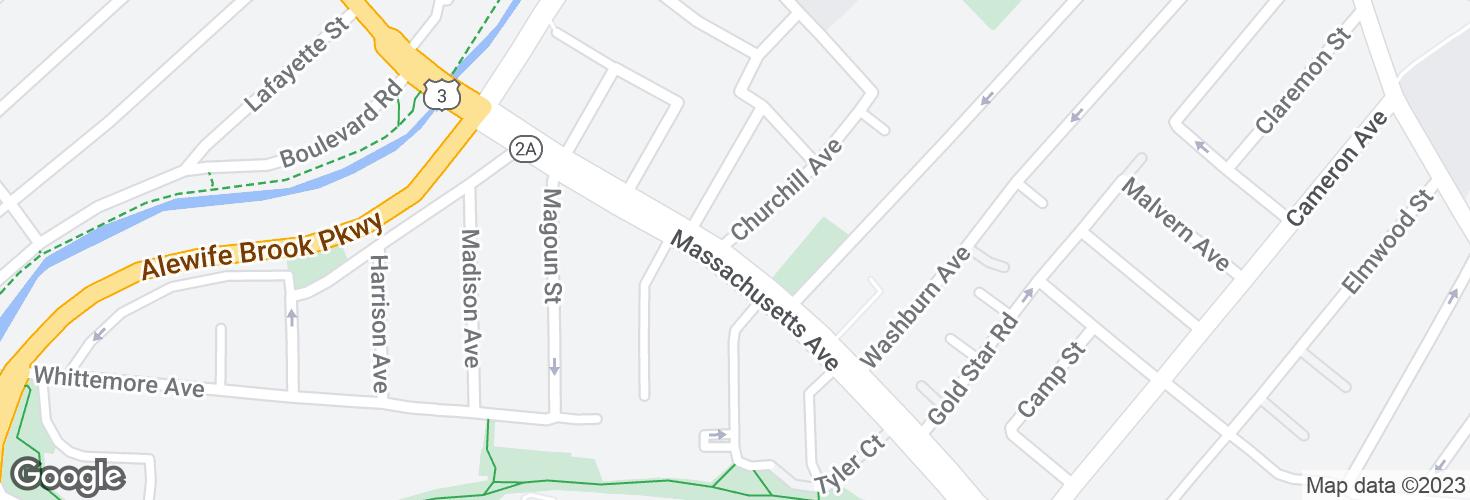 Map of Massachusetts Ave @ Churchill Ave and surrounding area