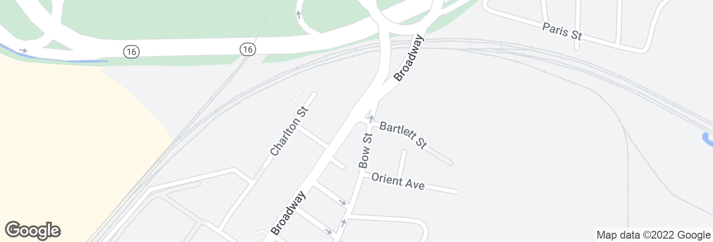 Map of Broadway St @ Bartlett St and surrounding area
