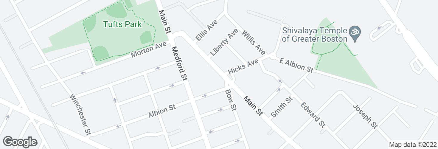 Map of Main St @ Bow St and surrounding area