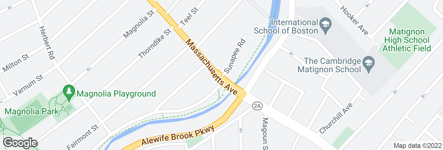 Map of Massachusetts Ave @ Route 16 and surrounding area