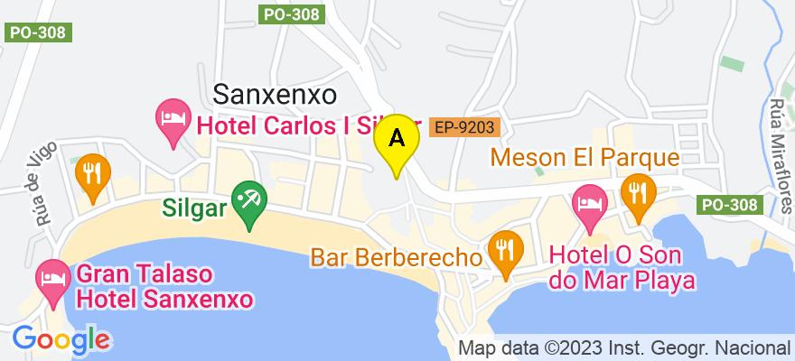 situacion en el mapa de . Direccion: C/ Oriente nº 7, 36960 Sanxenxo. Pontevedra