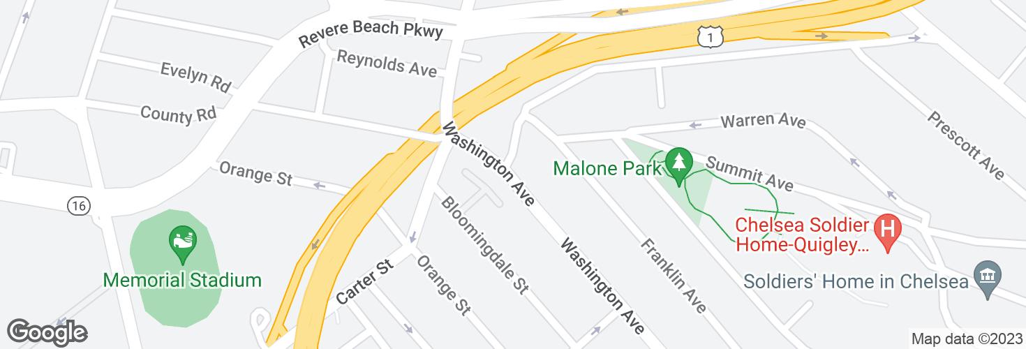 Map of Washington Ave @ Jefferson Ave and surrounding area