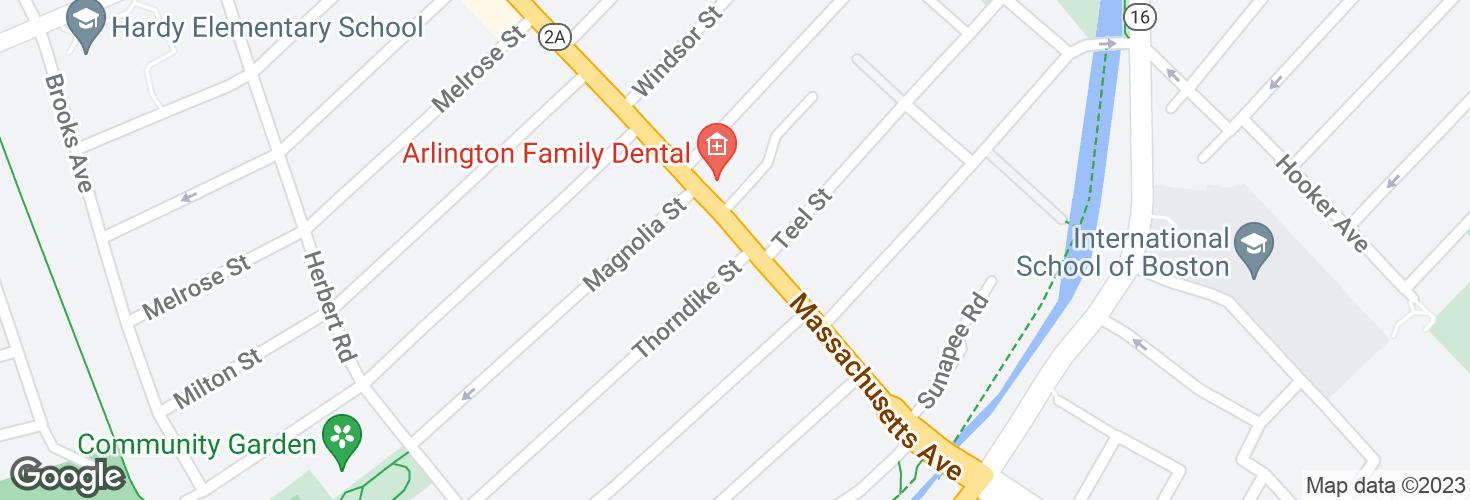 Map of Massachusetts Ave @ Thorndike St and surrounding area