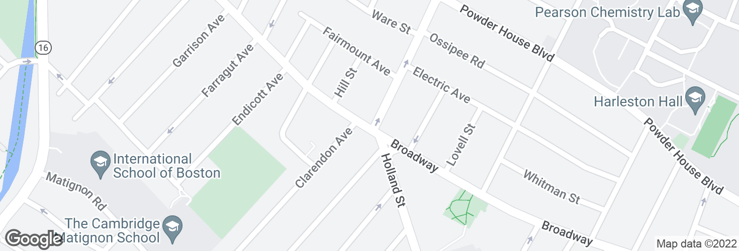 Map of Broadway @ Curtis St and surrounding area