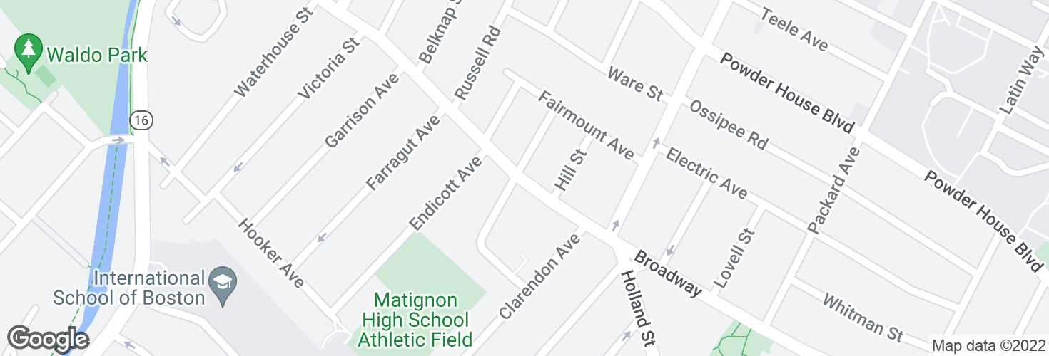 Map of Broadway @ Dickson St and surrounding area