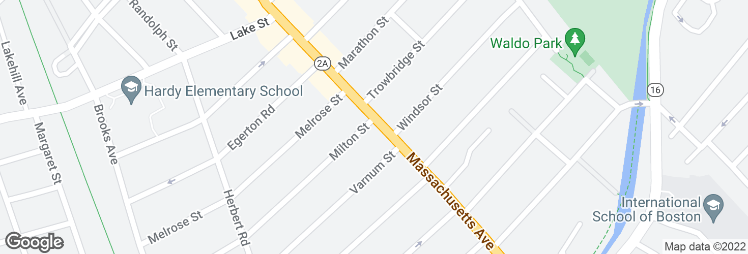 Map of Massachusetts Ave @ Milton St and surrounding area