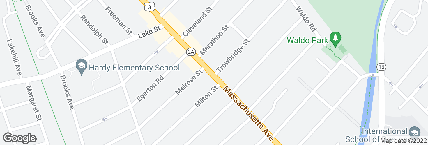Map of Massachusetts Ave @ Trowbridge St and surrounding area