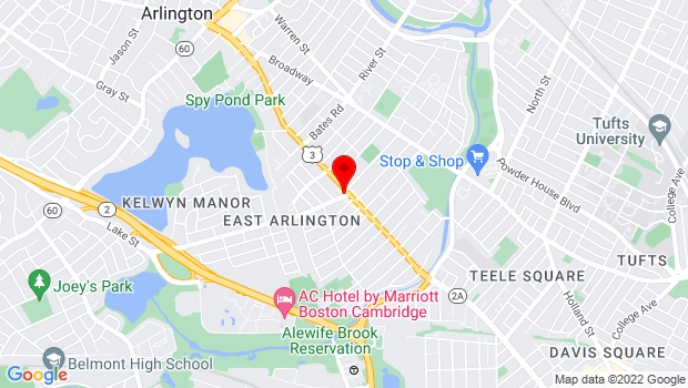 Google Map of 204 Massachusetts Ave, Arlington, MA 02474