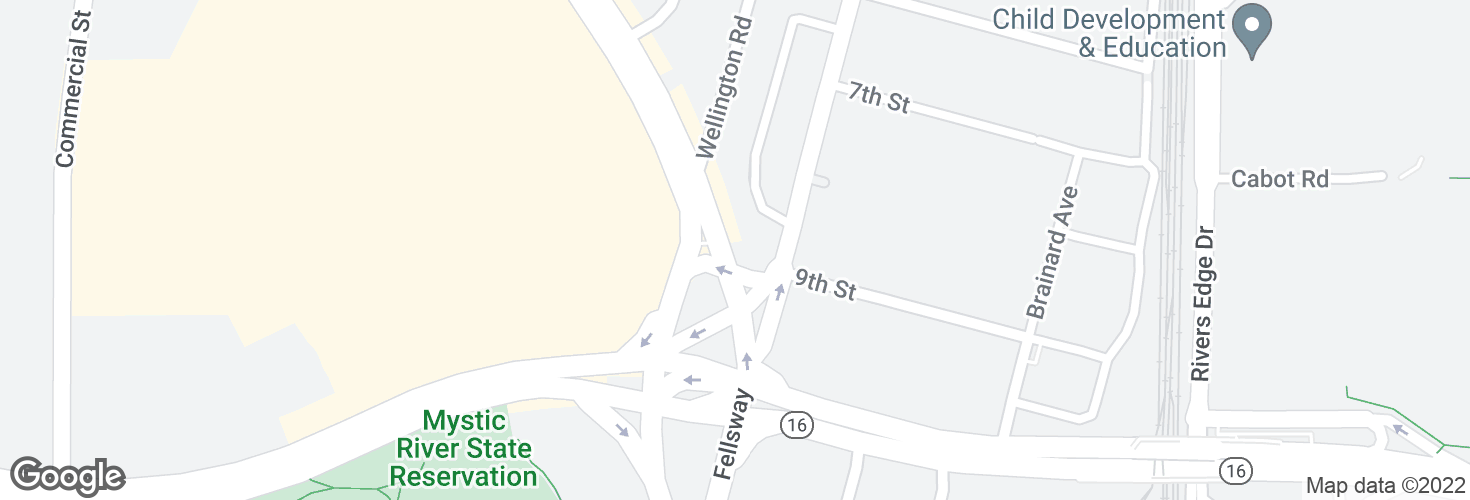 Map of Fellsway @ Middlesex Ave - Wellington Circle and surrounding area