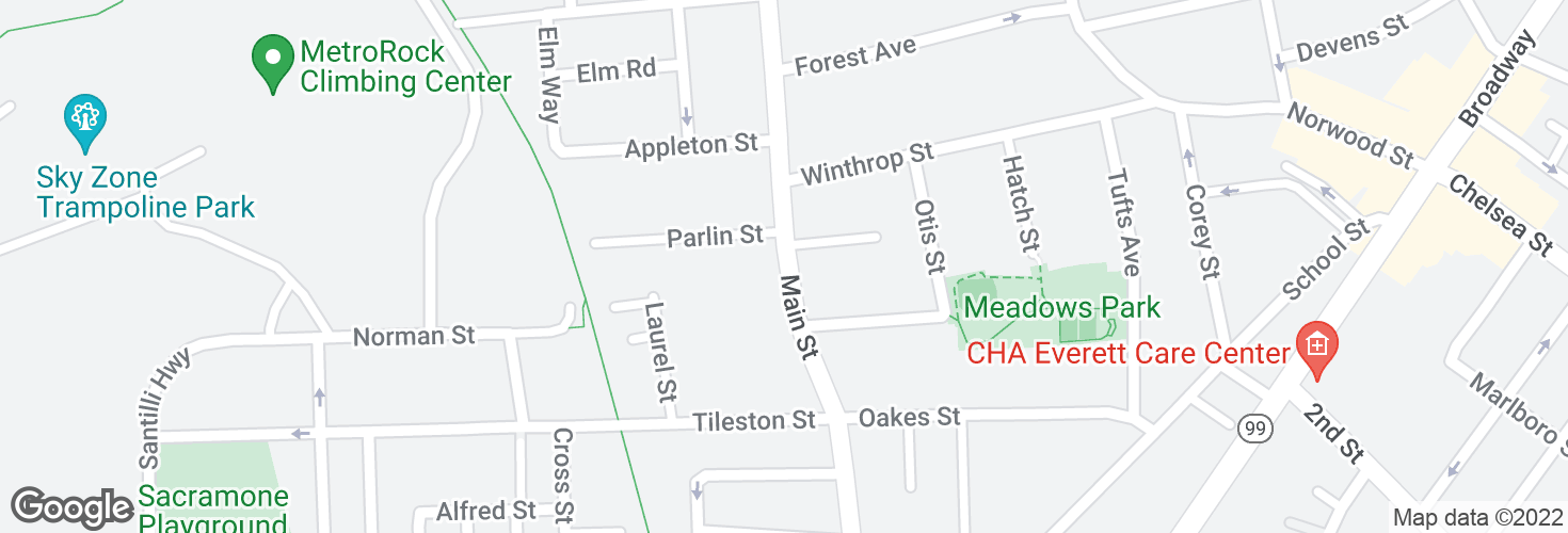 Map of Main St @ Parlin St and surrounding area