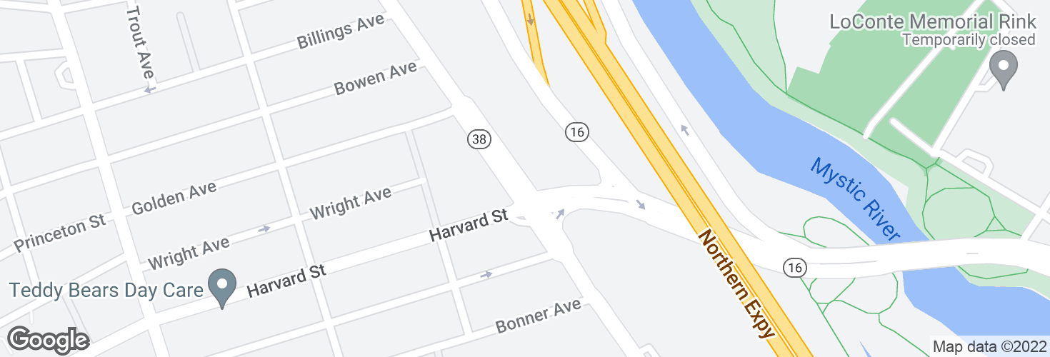 Map of Mystic Ave opp Harvard St and surrounding area