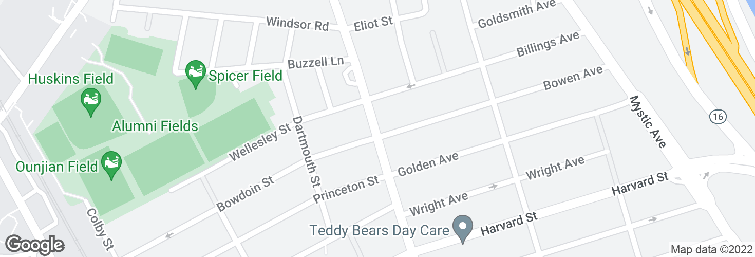 Map of Main St @ Bowen Ave and surrounding area
