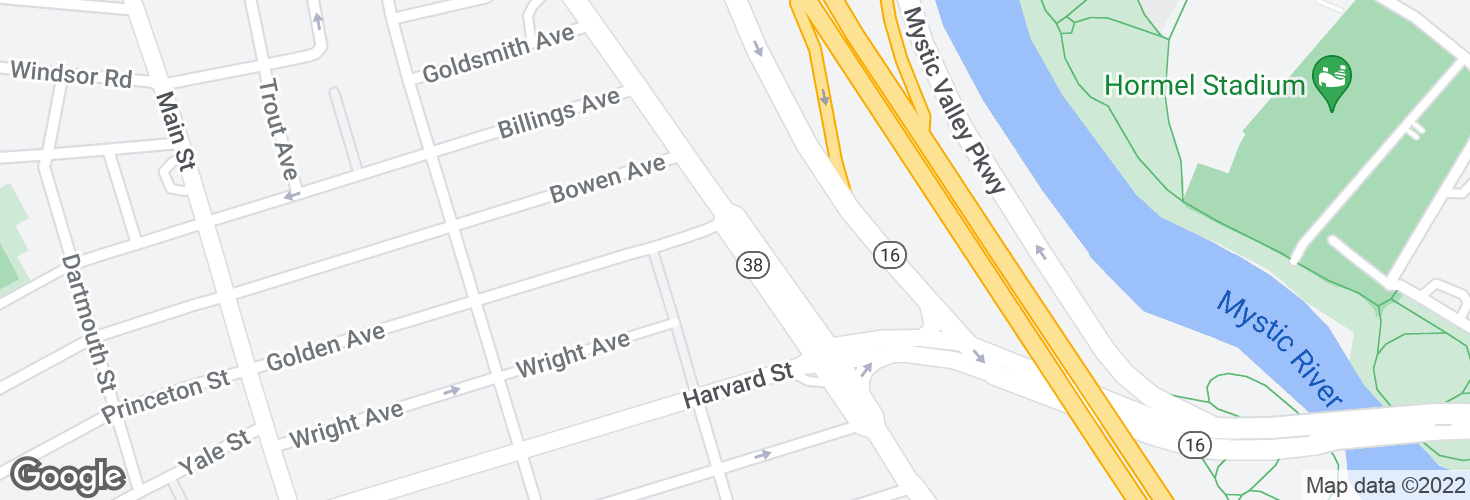 Map of Mystic Ave @ Golden Ave and surrounding area