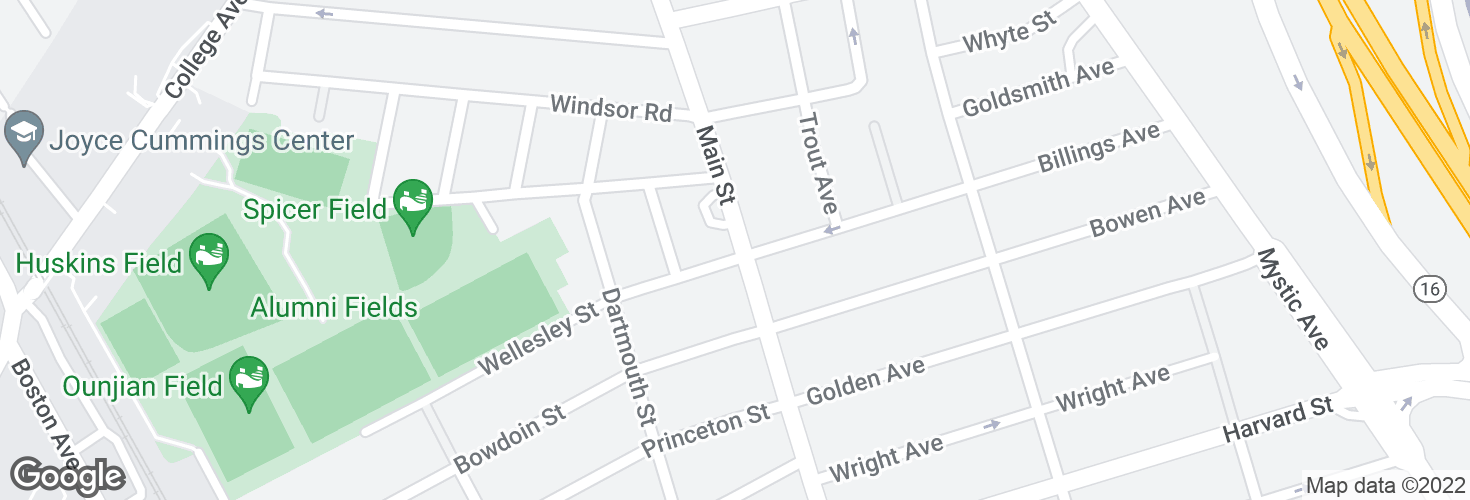 Map of Main St @ Wellesley St and surrounding area