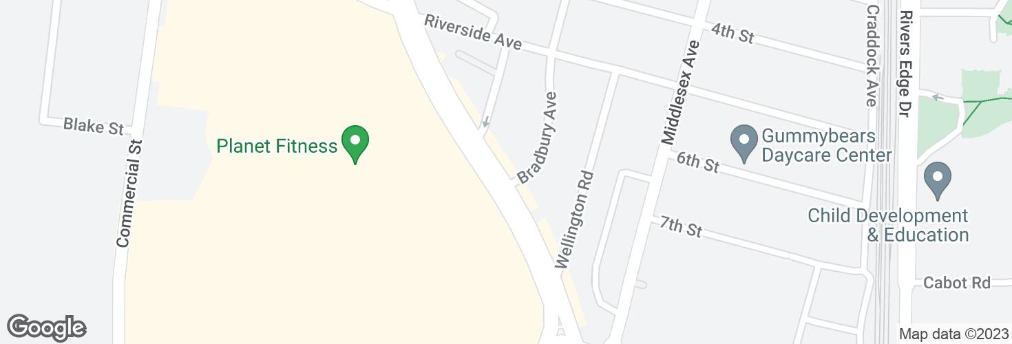 Map of Fellsway @ Bradbury Ave and surrounding area