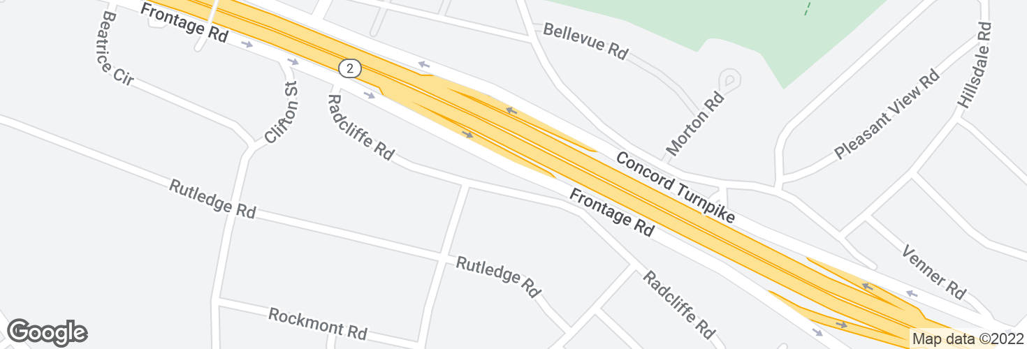 Map of East Service Rd @ Stairway to Radcliffe Rd and surrounding area
