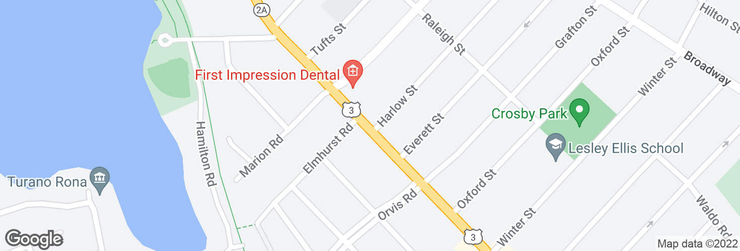 Map of Massachusetts Ave @ Harlow St and surrounding area