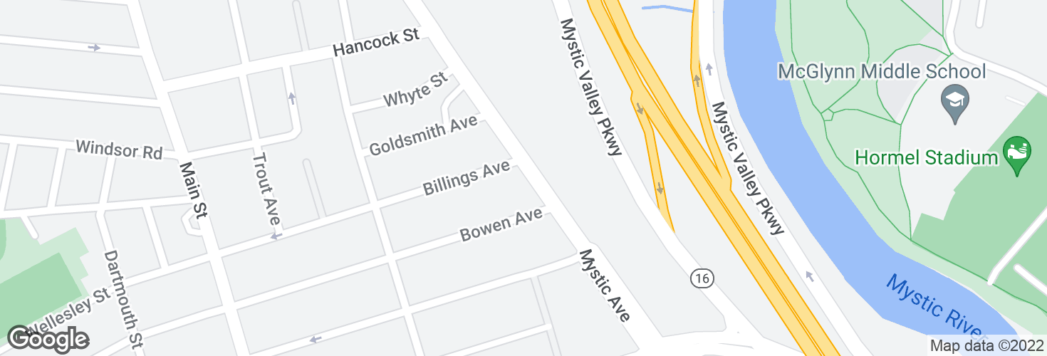 Map of Mystic Ave @ Billings Ave and surrounding area
