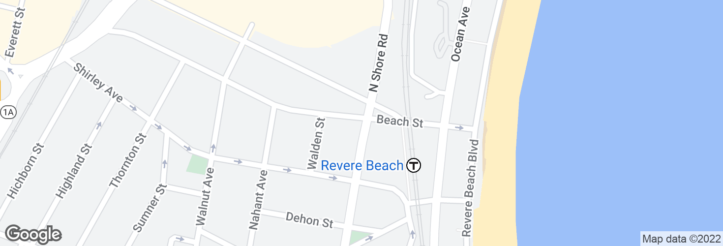 Map of Beach St @ N Shore Rd and surrounding area