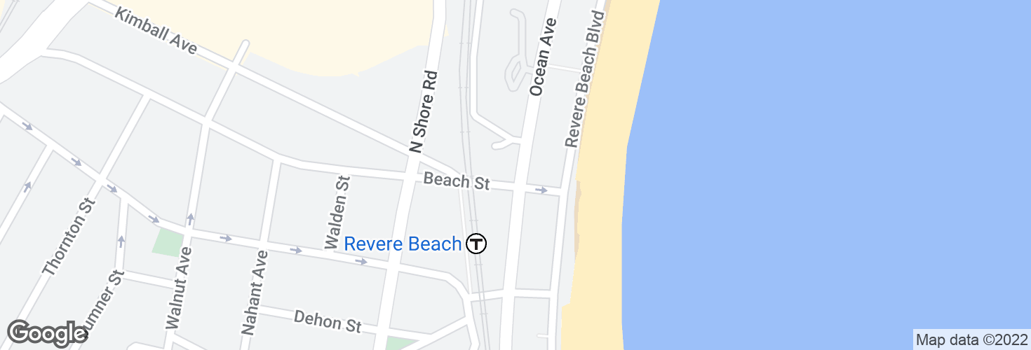 Map of Ocean Ave @ Beach St and surrounding area